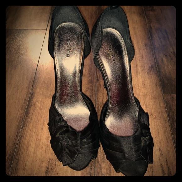 Call it spring black Satin heels